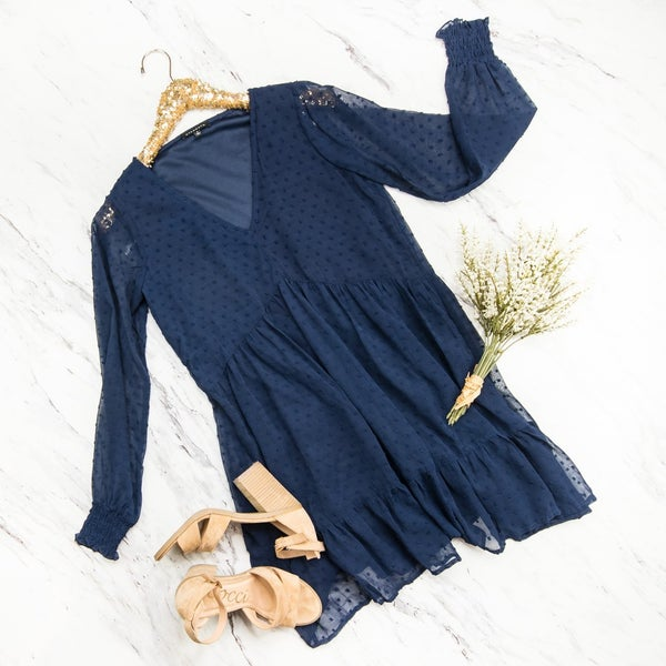 Navy Swiss Dot Dress