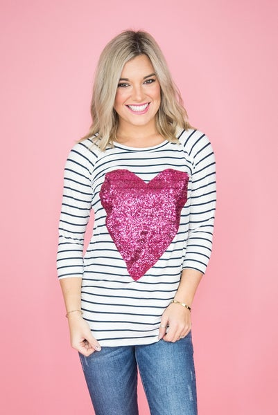 Magenta Sequin Heart Tee