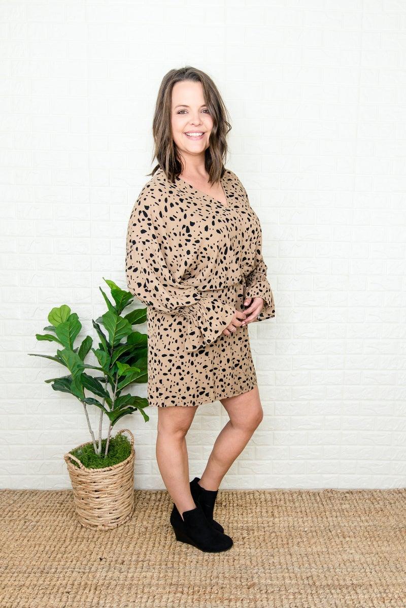 Mocha Spotty Dot Dress