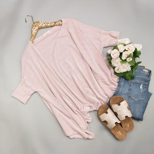 Pinstriped Pink Poncho