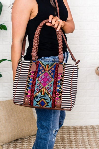 Jen & Co Aztec Embroidered Tote