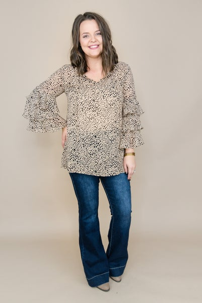 Leopard Three Tier Blouse