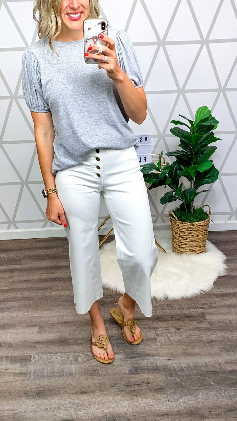 White Button Denim Pants