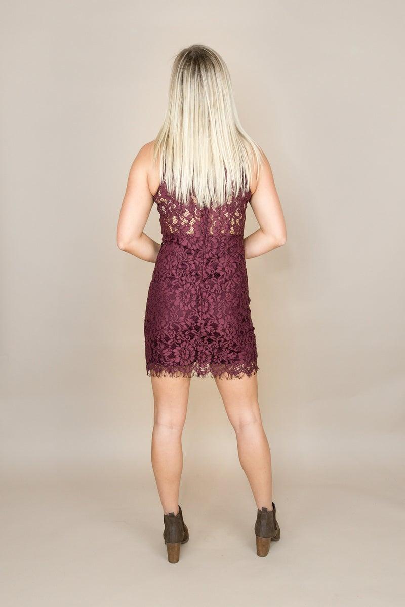 Flirty Wine Lace Dress