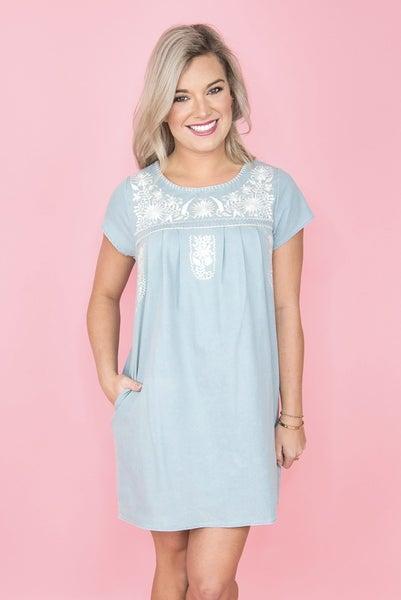 Cream Embroidered Denim Dress
