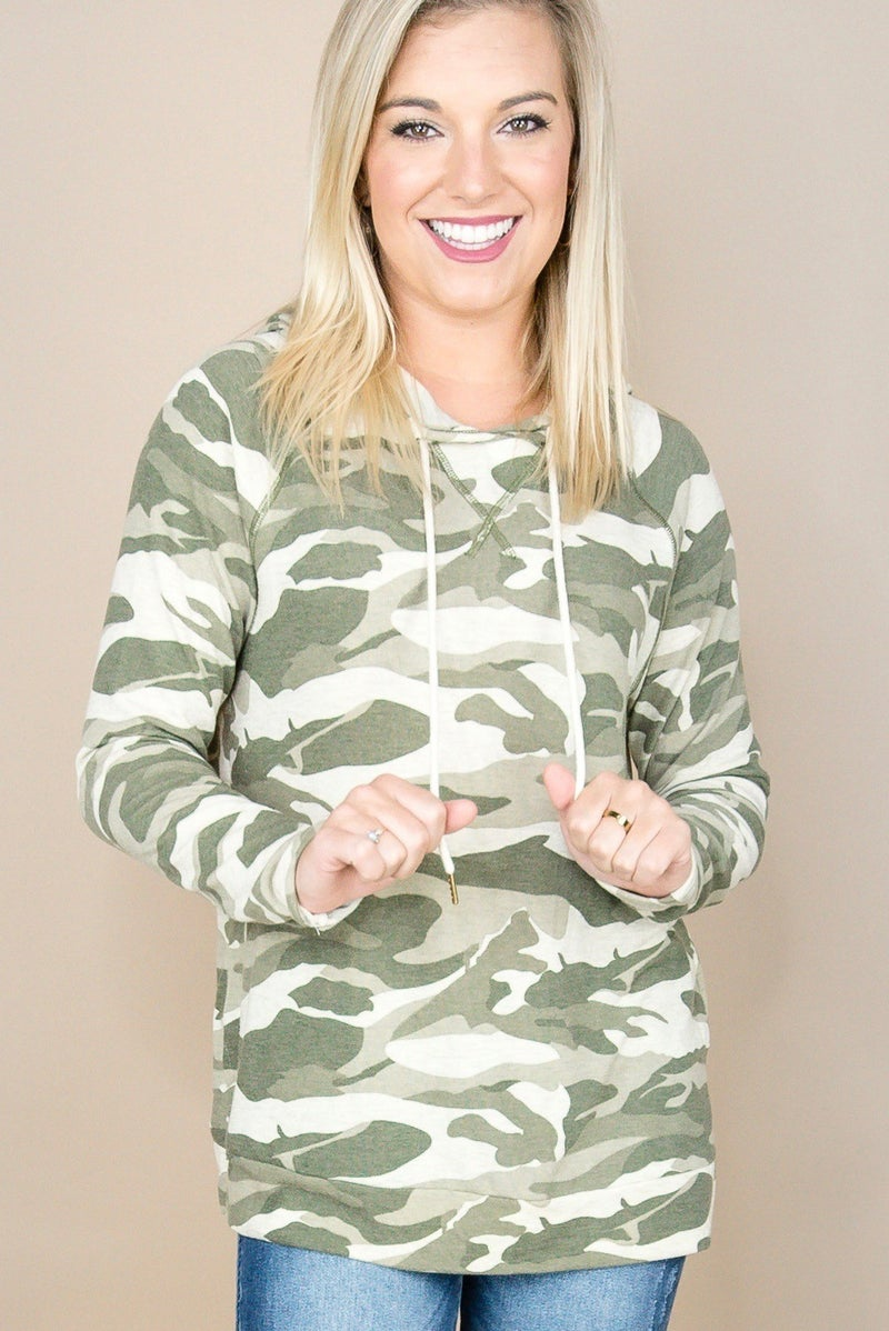 Hooded Camo Top