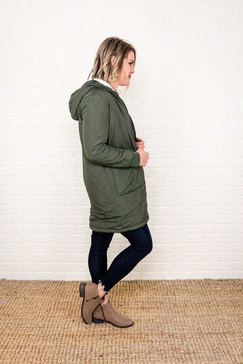 Olive Sherpa Lined Jacket