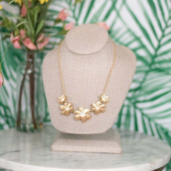 Matte Gold Floral Necklace