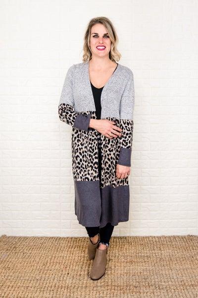 Duster Leopard Block Cardigan *all sales final*