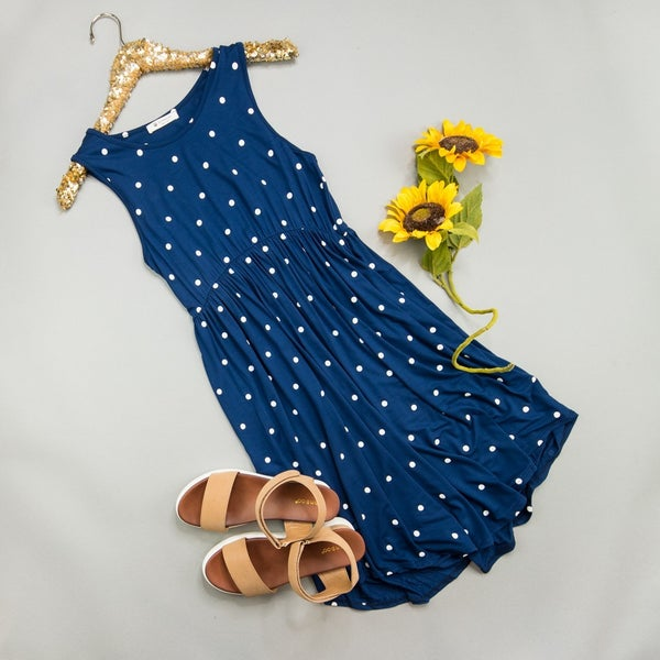 Polka Dot Navy Dress