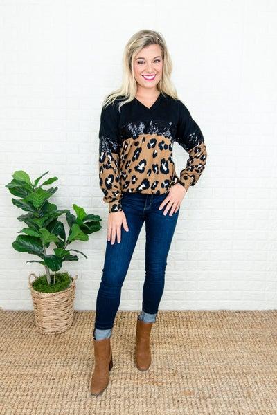 Mocha Leopard Sequin Top