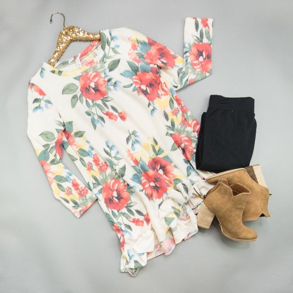 Ruffled Floral Tunic  *ALL SALES FINAL*