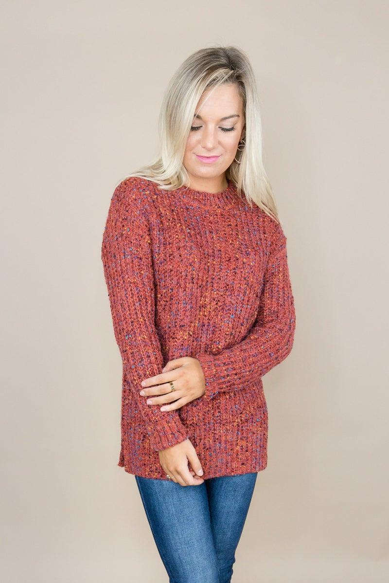 Rust Confetti Sweater