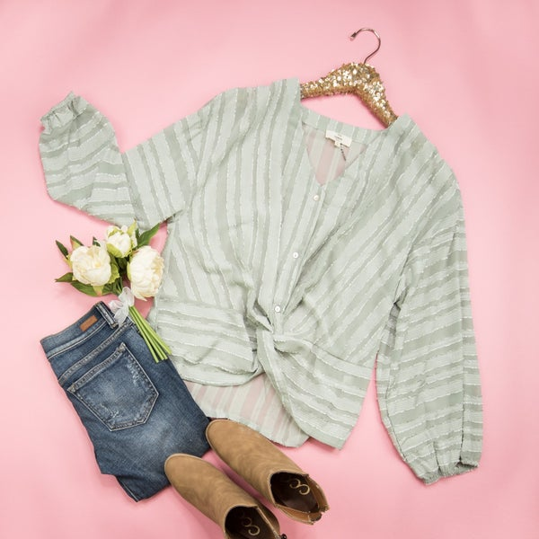 Pretty In Sage Blouse *all sales final*