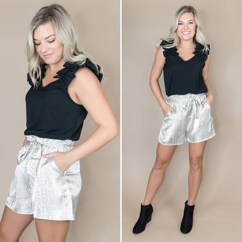 Cream Satin Leo Shorts *all sales final*