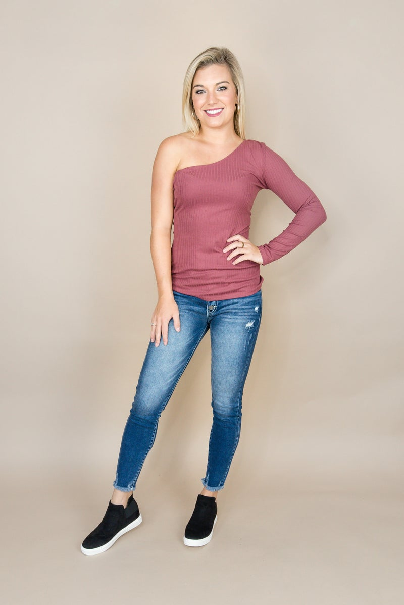 One Shoulder Fitted Top *all sales final*