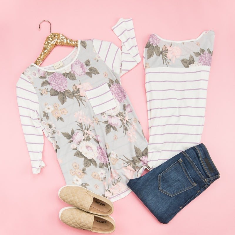 Sweet Stripe Floral Baseball Tee