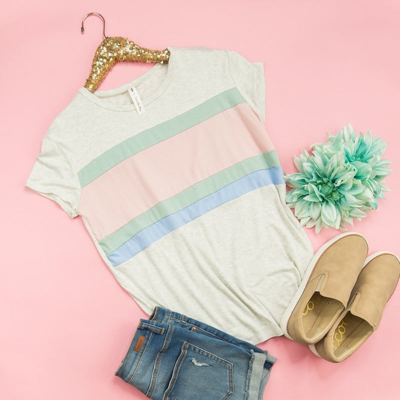 Muted Colored Stripe Tee