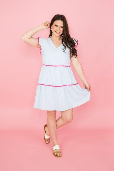 Pink Crochet Trim Tier Dress