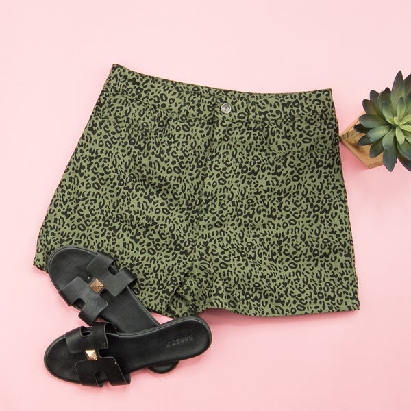 Olive Leopard Shorts *all sales final*