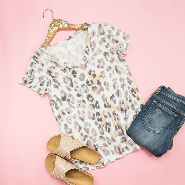 Coral Leopard Top *all sales final*