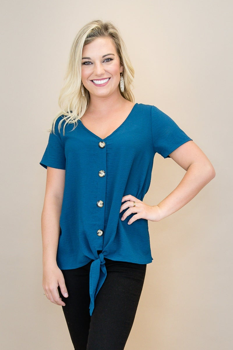 Teal Button Blouse *all sales final*