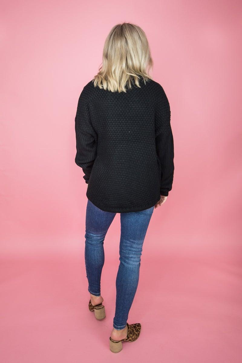 Scale Knit Black Sweater