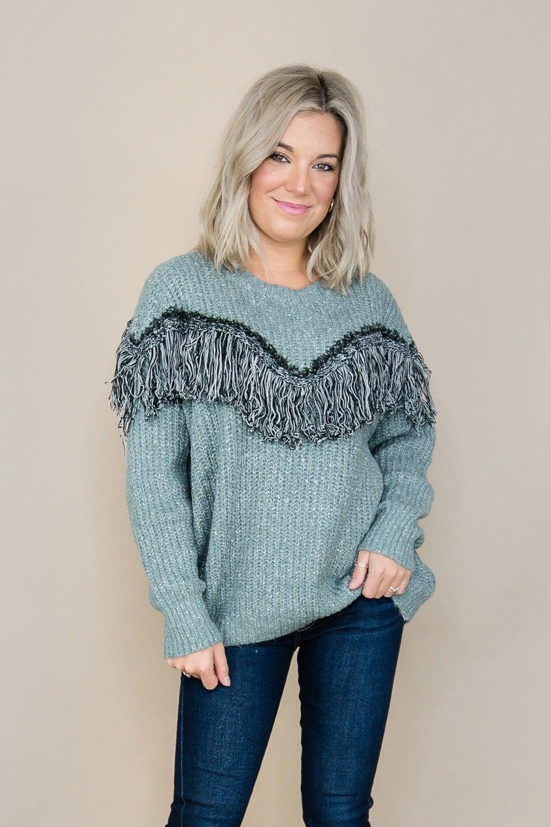 Sage Fringed Sweater