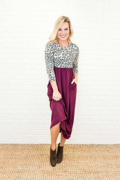 Sipping Wine Leopard Dress *all sales final*