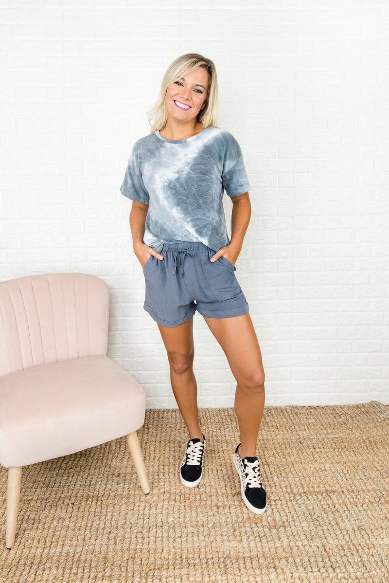Gray Linen Shorts
