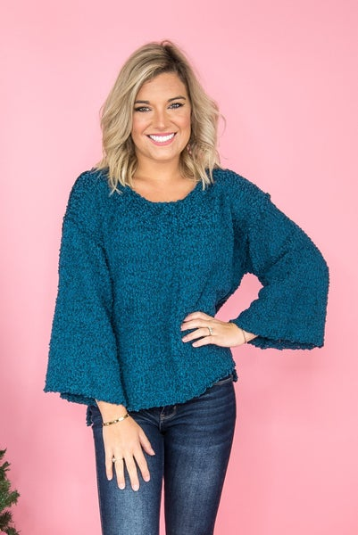 Teal Popcorn Sweater *all sales final*
