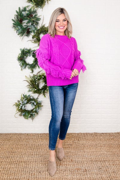 Magenta Fringe Sweater