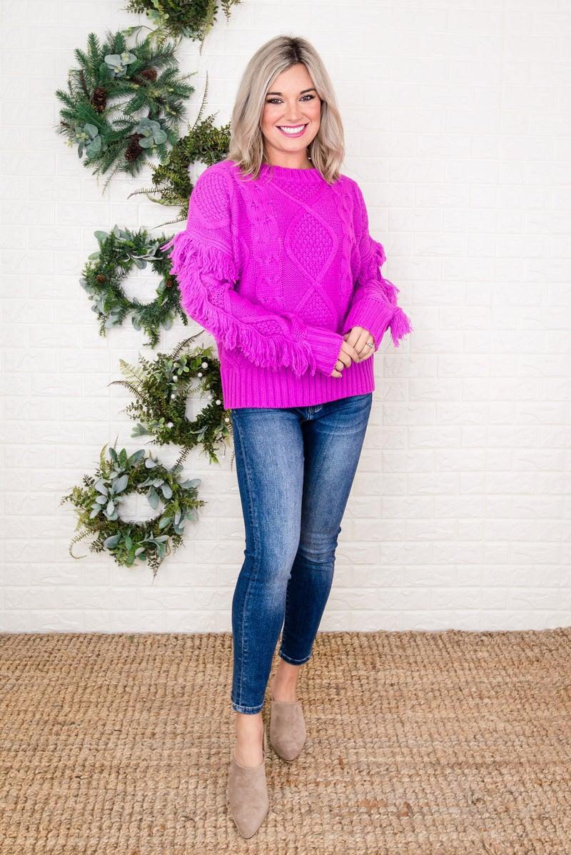 Magenta Fringe Sweater