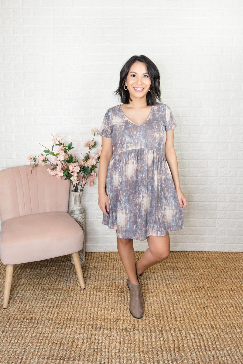 Pretty Patterned Peplum Dress