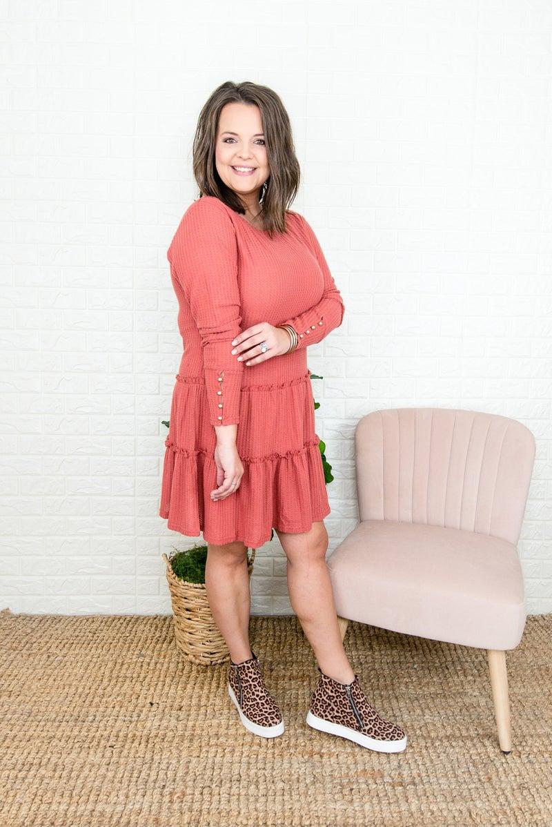 Deep Orange Button Dress