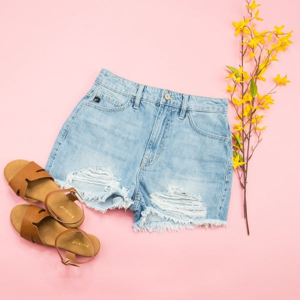 KanCan High Rise Light Denim Shorts