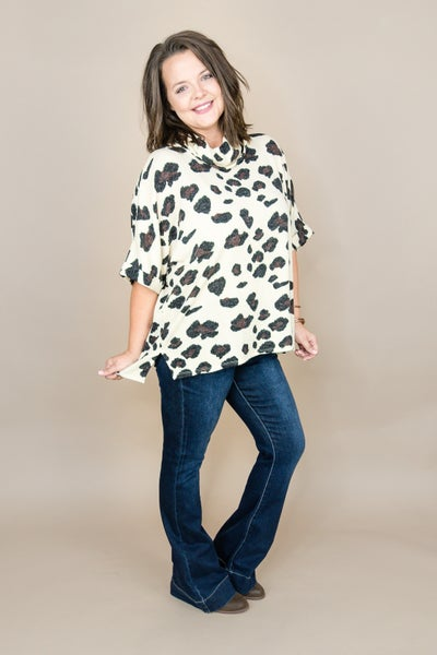 Beige Leopard Cowl Top  *all sales final*