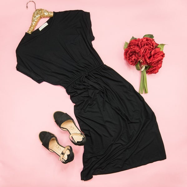 Simple Black Midi Dress