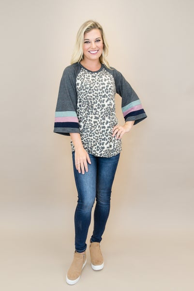 Relaxed Leopard Baseball Tee