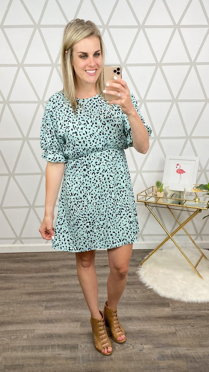 Blue Leopard Dress *ALL SALES FINAL*