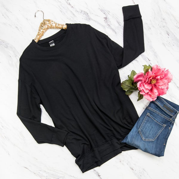 Casual Black Pullover
