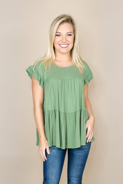 Soft Olive Tier Top