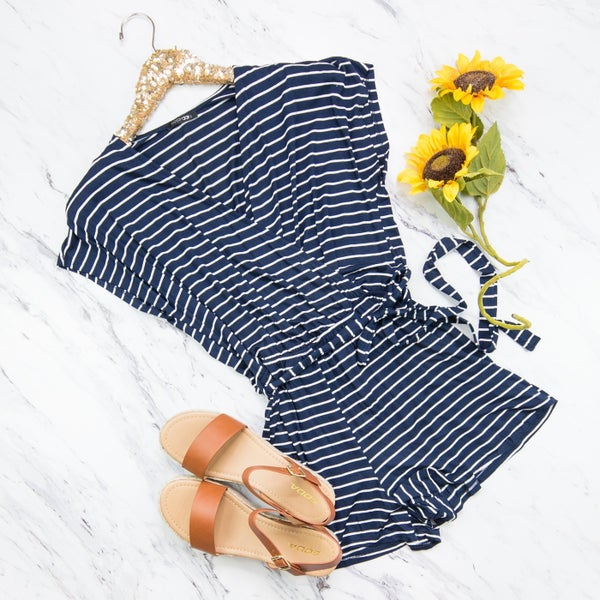 Navy/Ivory Striped Romper