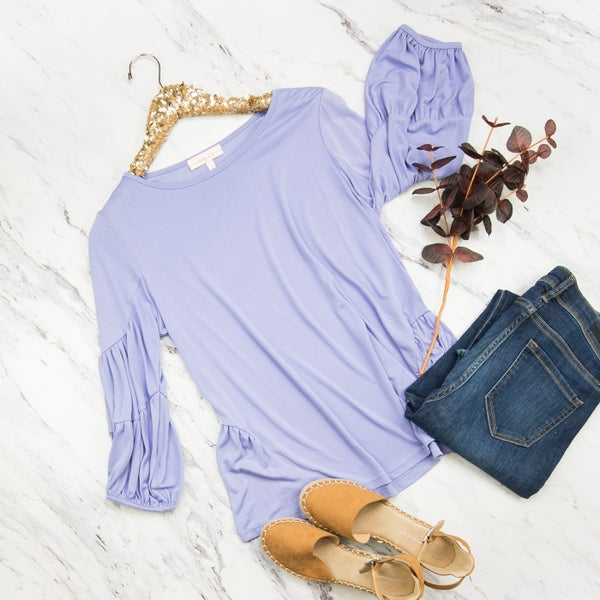Pleated Lilac Top *all sales final*