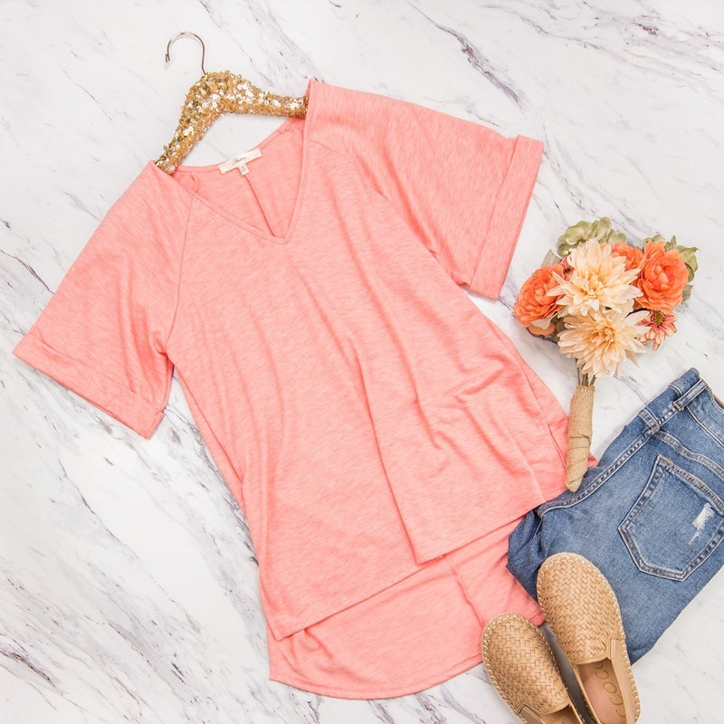 Heathered Coral Top