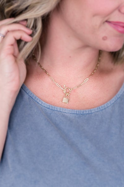 Lock Gold Chain Link Necklace