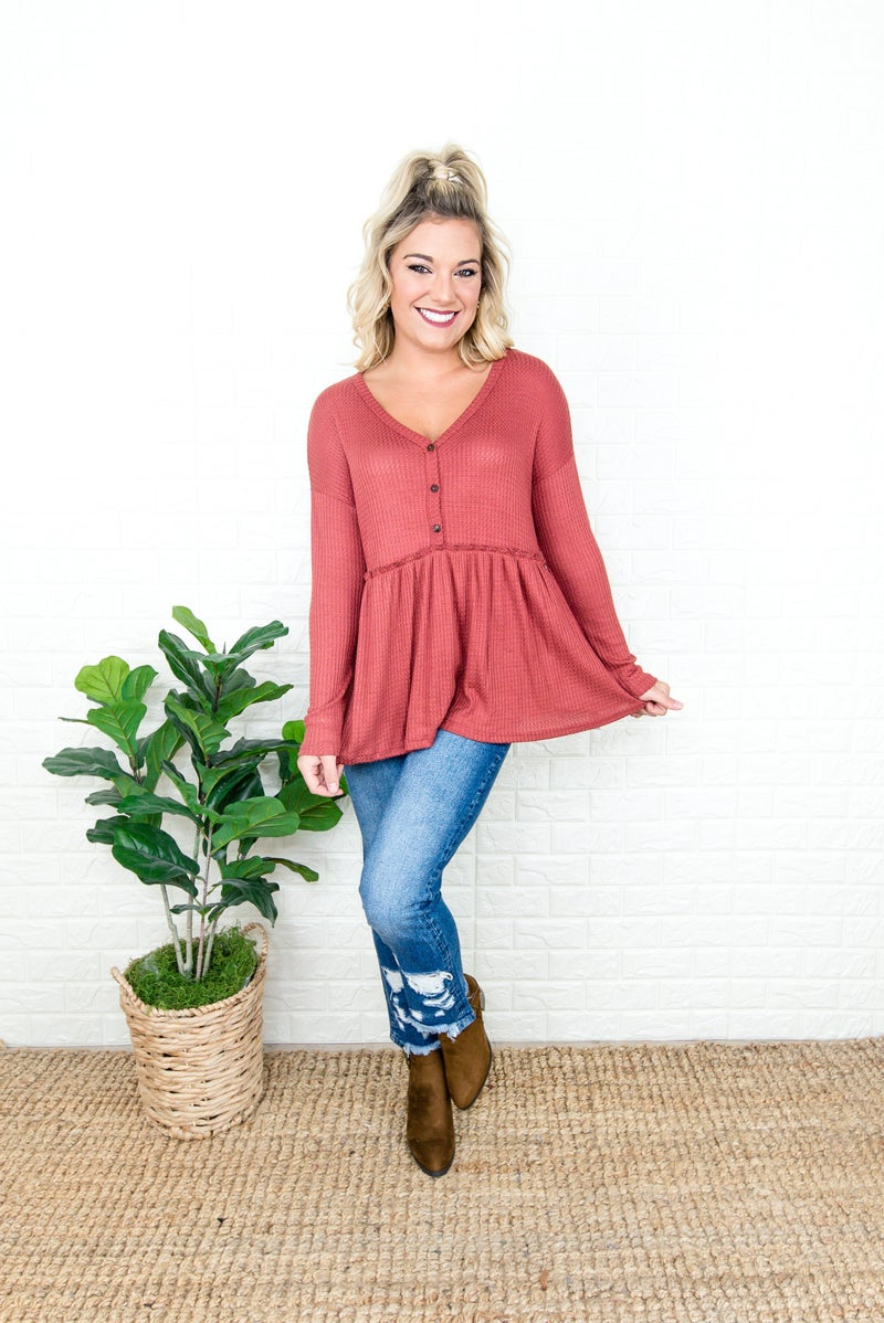 Waffled Brick Button Top
