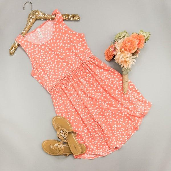 Coral Spotty Dot Dress