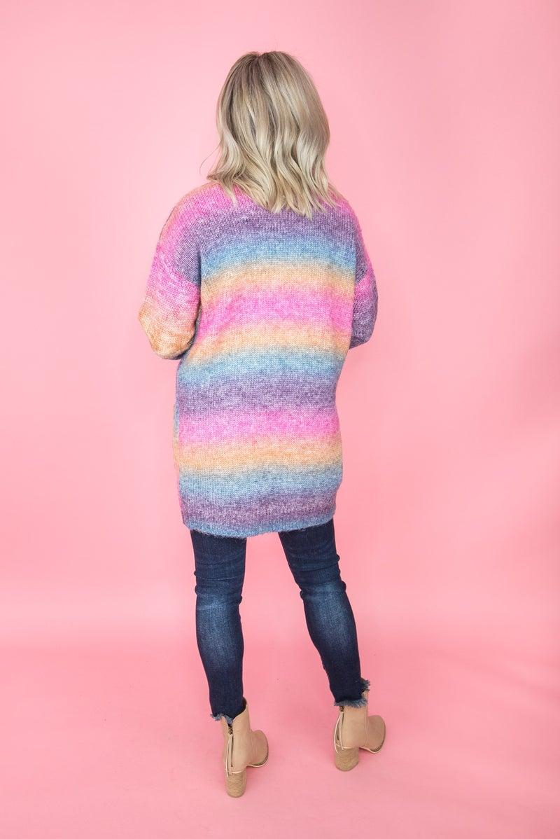 Ombre Rainbow Cardigan