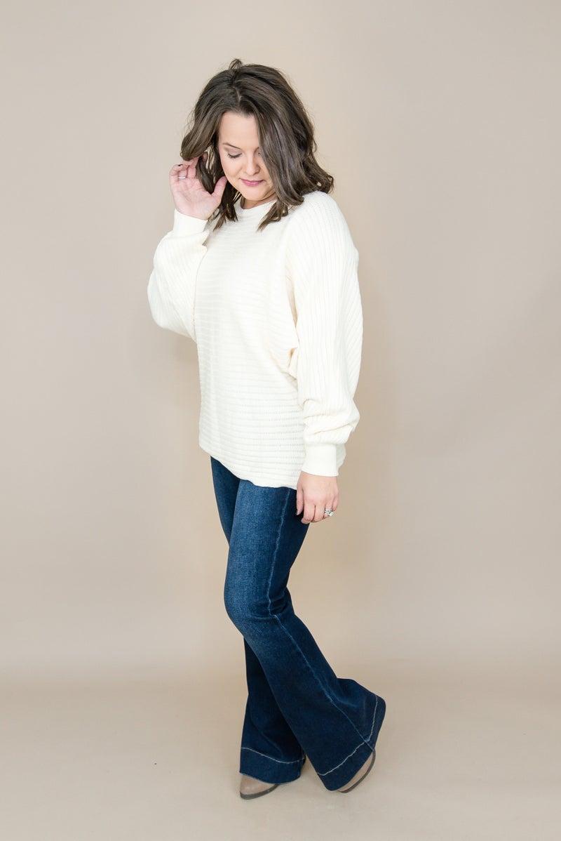 Cream Ribbed Sweater
